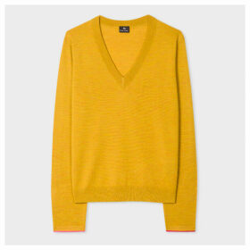 Women's Mustard V-Neck Wool-Blend Sweater With Interior Cuff Trims