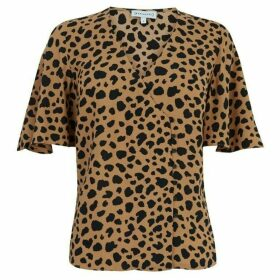 Warehouse Animal Print Side Button Top