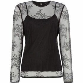DKNY Long sleeve lace detail top