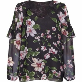 Mela London Curve Blooming Flower Ruffle Blouse