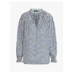 Polo Ralph Lauren Stripe Tie Neck Shirt, White/Blue