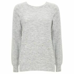 Wallis Grey Pearl Hem Jumper