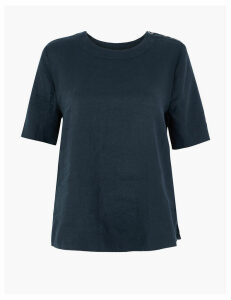 M&S Collection Pure Linen Button Detailed Blouse