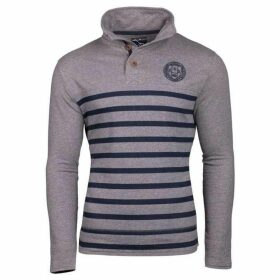 Raging Bull Big And Tall Stripe Button Neck Sweat