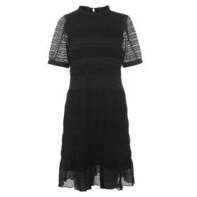 Velvet Short Sleeve Dress - Black