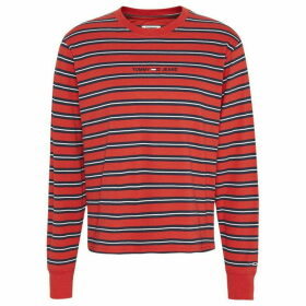 Tommy Jeans Multi Stripe Long Sleeve T Shirt - CRIMSON RED