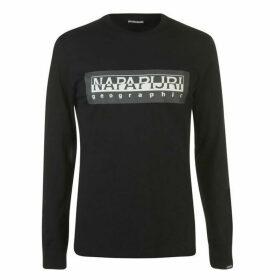 Napapijri Tribe Sele Long Sleeve Large Logo T Shirt - Black