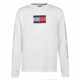 Tommy Jeans Metallic Long Sleeve Flag T Shirt - White