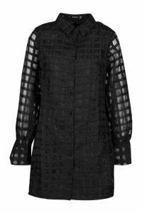 Womens Organza Check Shirt Dress - black - 12, Black