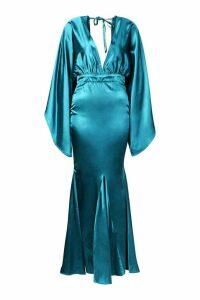 Womens Satin Plunge Kimono Sleeve Fishtail Maxi - Green - 10, Green
