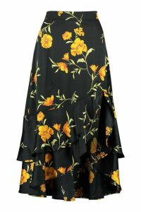 Womens Floral Matte Satin Maxi Skirt - Black - 14, Black