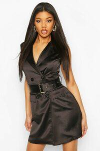 Womens Satin Buckle Blazer Dress - Black - 16, Black