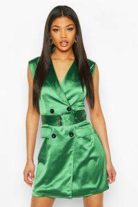 Womens Satin Buckle Blazer Dress - Green - 16, Green