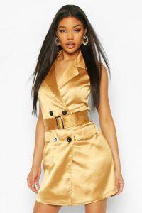 Womens Satin Buckle Blazer Dress - Beige - 18, Beige