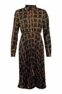 Womens Chain Print Pleated Midi Dress - Black - 8, Black