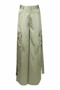 Womens Matte Satin Wide Leg Utility Trouser - green - 16, Green