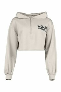 Womens Woman Zip Up Oversized Crop Hoodie - Grey - 16, Grey