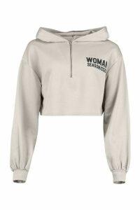 Womens Woman Zip Up Oversized Crop Hoodie - grey - 16, Grey