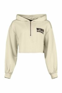 Womens Woman Zip Up Oversized Crop Hoodie - Beige - 16, Beige