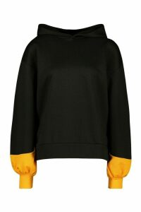 Womens Brooklyn Contrast Stripe Oversized Sweat Hoodie - black - 16, Black