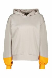 Womens Brooklyn Contrast Stripe Oversized Sweat Hoodie - grey - 12, Grey