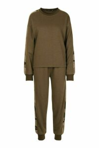 Womens Camo Side Stripe jumper Tracksuit - green - 16, Green