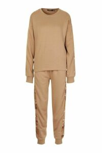 Womens Camo Side Stripe jumper Tracksuit - beige - 8, Beige