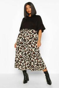 Womens Plus Leopard Contrast Smock Midi Dress - Black - 24, Black