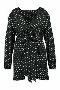 Womens Plus Polka Dot Wrap Skater Dress - black - 20, Black