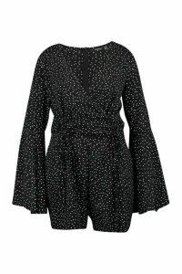Womens Plus Polka Dot Flare Split Sleeve Playsuit - black - 20, Black