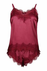 Womens Eyelash Lace Trim Cami & Short Set - red - 16, Red