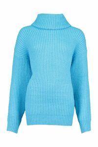 Womens Oversized Roll Neck Rib Knit Jumper - blue - M, Blue