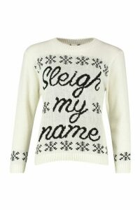 Womens Sleigh My Name Snowflake Slogan Christmas Jumper - white - S/M, White