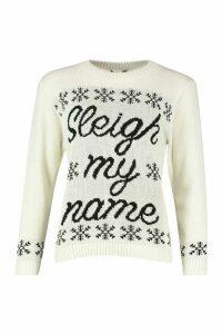Womens Sleigh My Name Snowflake Slogan Christmas Jumper - white - S/M, White