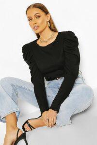Womens Ribbed Puff Sleeve Top - Black - 16, Black