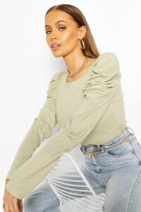 Womens Ribbed Puff Sleeve Top - Green - 16, Green