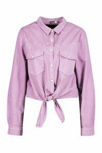 Womens Tie Front Western Denim Shirt - Pink - 14, Pink