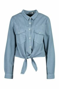 Womens Tie Front Western Denim Shirt - Blue - 14, Blue