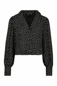 Womens Woven Polka Dot Sleeve Blouse - black - 14, Black