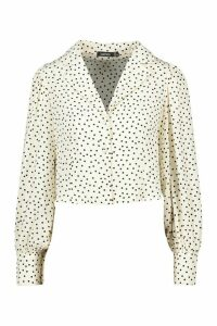 Womens Woven Polka Dot Sleeve Blouse - White - 14, White