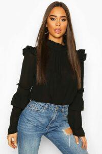 Womens Woven Ruffle Detail Blouse - black - 8, Black