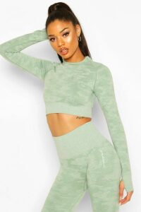 Womens Fit Camo Contouring Seamless Long Sleeve Crop Top - green - M, Green