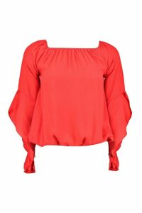 Womens Fluted Frill Sleeve Off The Shoulder Top - red - 10, Red