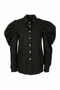 Womens Pearl Button Puff Sleeve Shirt - black - M, Black