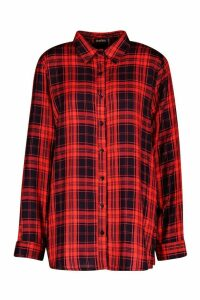 Womens Checked Shirt - red - 10, Red
