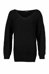Womens Oversized Fisherman V Neck Jumper - Black - L, Black