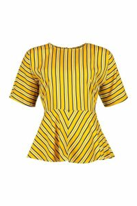 Womens Stripe Twist Front Blouse - yellow - 14, Yellow