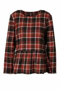 Womens Check Long Sleeved Smock Top - orange - 8, Orange