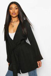 Womens Woven Oversized Cuff Kimono - black - 6, Black