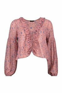 Womens Woven Floral Lace Up Ruffle Blouse - pink - 16, Pink